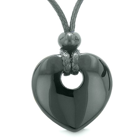 Amulet Lucky Heart Donut Shaped Charm Black Agate Gemstone Pendant Spiritual and Healing Powers Necklace Fire Agate Gemstone Pendant