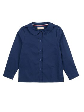 Leveret Kids & Toddler Girls Long Sleeve Uniform Cotton Dress Shirt, Multiple Colors ( Size 2-14 Years)