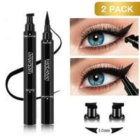 2 PACK Waterproof Winged Eyeliner Stamp Makeup Eye Liner Pencil Black Liquid