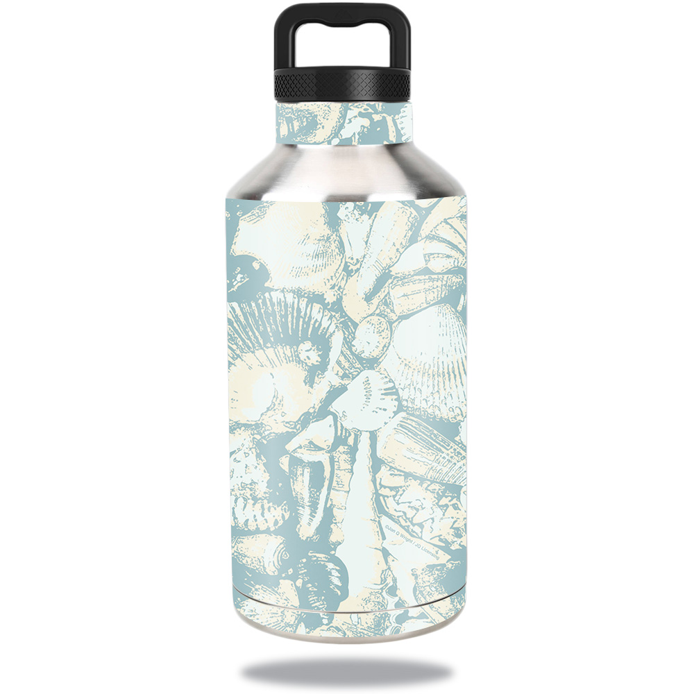 Skin For Ozark Trail Water Bottle 64 oz – Blue Seashells   MightySkins Protective, Durable, and Unique Vinyl Decal wrap cover   Easy To Apply, Remove, and Change Styles   Made in the USA