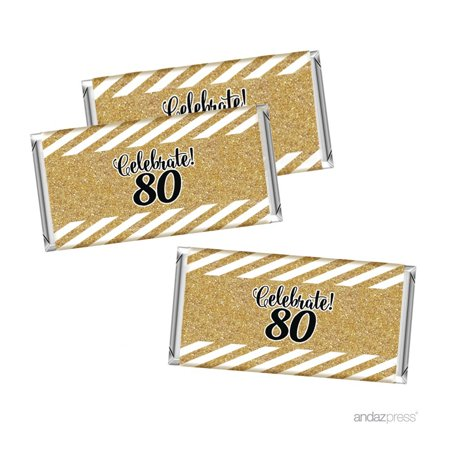 Milestone Hershey Bar Party Favor Labels Stickers, 80th Birthday or Anniversary, 10-Pack, Not Real Glitter