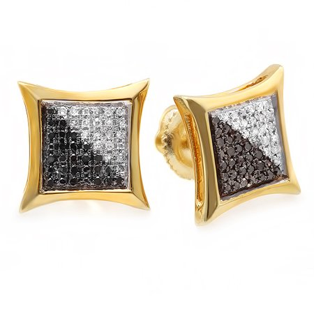 Dazzlingrock Collection 0.25 Carat (ctw) 14K White & Black Round Diamond Micro Pave Setting Kite Shape Stud Earrings 1/4 CT, Yellow (Trillion Shape Earring Settings)