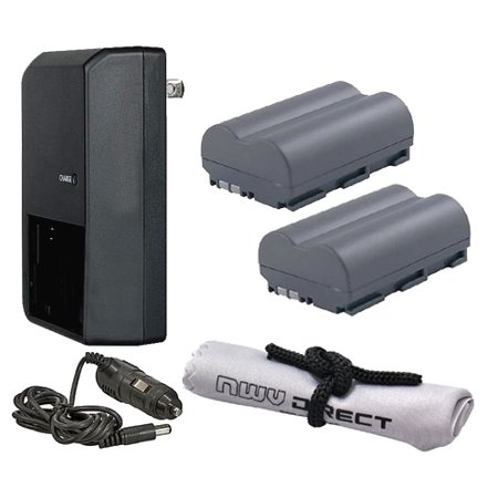 Canon EOS 50D High Capacity 'Intelligent' Batteries (2 Units) + AC/DC Travel Charger + Nwv Direct Microfiber Cleaning Cloth.