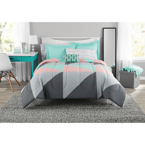 Mainstays Grey & Teal Bed in a Bag Bedding Set, Queen