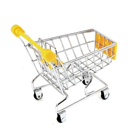 """Metal Mini Trolly Decoration Removable Storage Rack Tool 4"""" High Yellow - image 2 of 2"""
