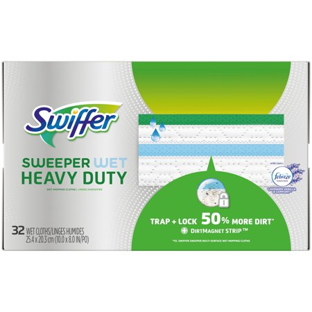 Heavy Duty Terry Cloth - Swiffer Sweeper Wet, Heavy Duty Mopping Cloths with Febreze Freshness, Lavender Vanilla & Comfort, 32 Count