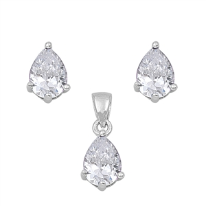 Tear Drop Clear Cubic Zirconia Matching Set Sterling Silver