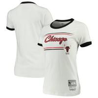 Chicago Bulls Mitchell & Ness Women's Ringer T-Shirt - White