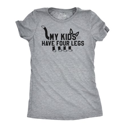 Womens My Kids Have Four Legs Tshirt Funny Cat Animal Parenting Kitten Lover Tee](Cat Woman Kids)