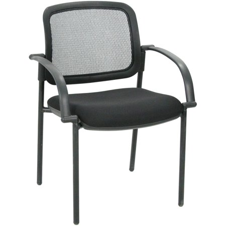26 Inch High Upholstered Seat - High-Back Mesh Guest Chair With Upholstered Seat - Black