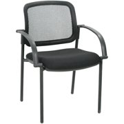 High-Back Mesh Guest Chair With Upholstered Seat - Black
