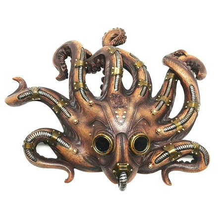 Ebros Steampunk Kraken Octopus Soldier Mask Decorative Wall Plaque 11.25
