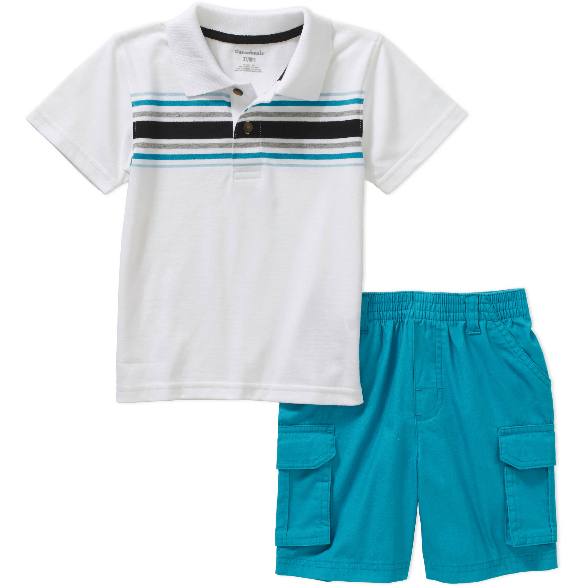 Garanimals Baby Toddler Boy Short Sleeve Stripe Polo & Cargo Shorts Outfit Set