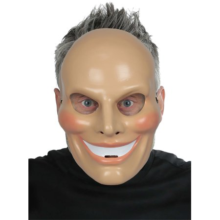 Adult Males Sinister Smiley Face Mask Rouge Cheeks Halloween Costume Accessory