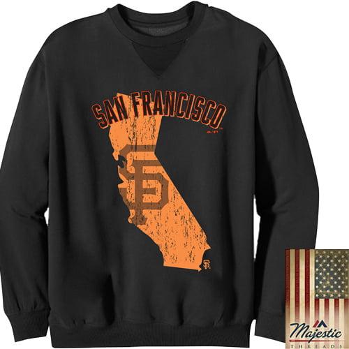 Men's Majestic Threads Black San Francisco Giants State Outline Pullover Sweatshirt