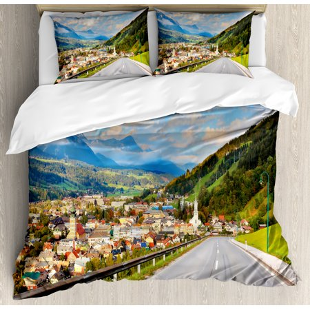 Landscape King Size Duvet Cover Set  Road In The Alps Small Town With Colorful Houses Clouds Clear Sky Rural Scenery  Decorative 3 Piece Bedding Set With 2 Pillow Shams  Multicolor  By Ambesonne