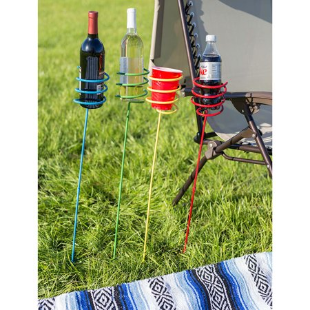 Sunnydaze Outdoor Yard Drink Holder Stakes, Heavy Duty, Set of 4, Multi Colored (Outdoor Drink Holders)
