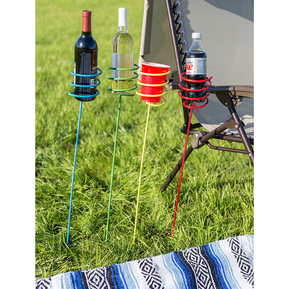 Sunnydaze Outdoor Yard Drink Holder Stakes, Heavy Duty, Set of 4, Multi Colored
