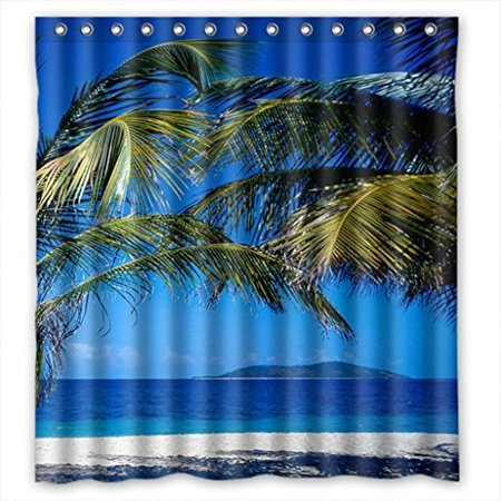 MOHome Blue Beach Tree Shower Curtain Waterproof Polyester Fabric Size 66x72 Inches