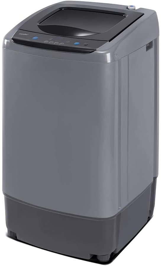 Gray Portable Compact Laundry Washer Spin with Drain Pump,10 programs 8 Water Level Selections with LED Display 13.3 Lbs Capacity Full-Automatic Washing Machine