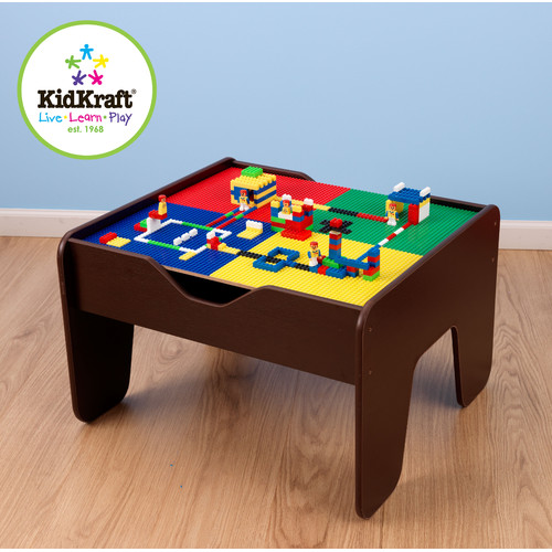 KidKraft 2-in-1 Activity Table With Board Espresso with 230 accessories included by KidKraft