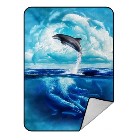 - GCKG Dolphins Jumping at Sea Fleece Blanket Crystal Velvet Front and Lambswool Sherpa Fleece Back Throw Blanket 58x80inches