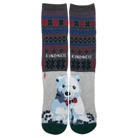 Women's Fair Isle Polar Bear Kindness Crew Socks ()