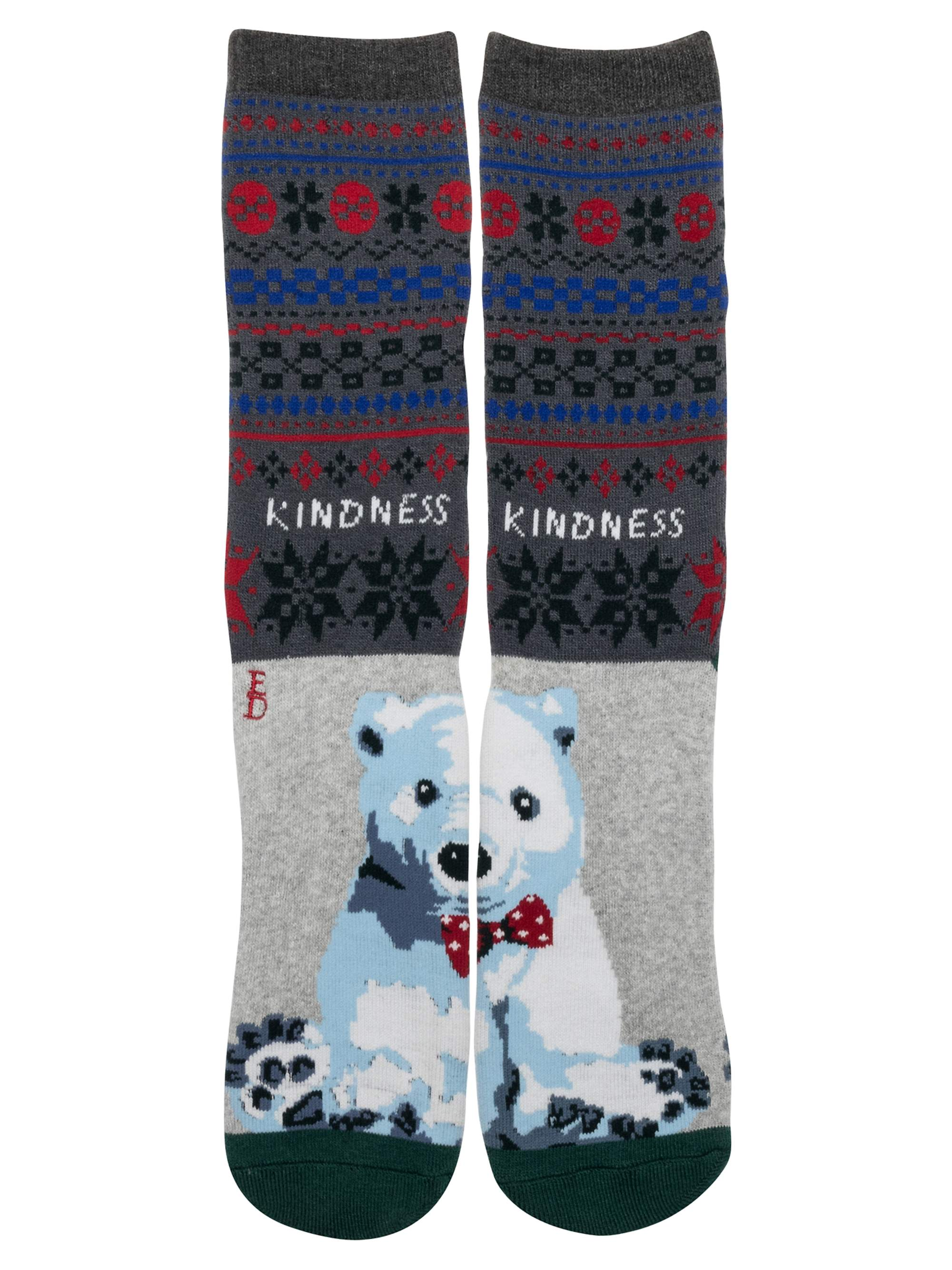 Women's Fair Isle Polar Bear Kindness Crew Socks