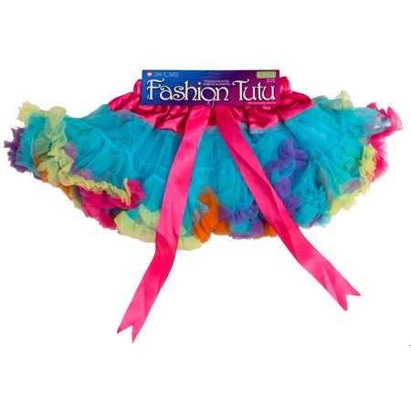 Star Power Girls 80's Princess Halloween Costume Tutu Skirt, Rainbow, One-Size - Rainbow Girl Halloween Costume
