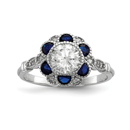 Sterling Silver CZ Cubic Zirconia & Synthetic Blue Simulated Sapphire Flower Ring (1.73mm) - Size 6