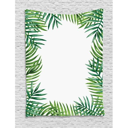 Green Leaf Tapestry, Frame with Fresh Leaves Botanical Natural ...