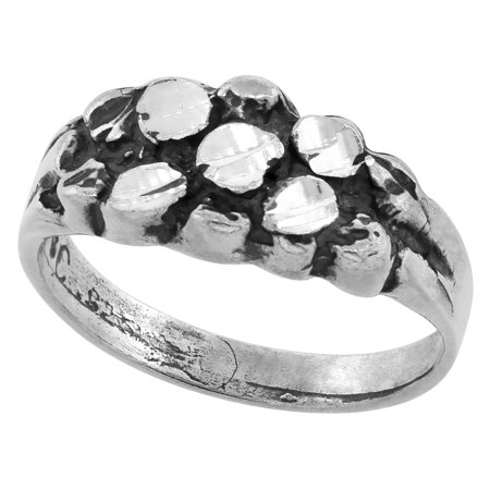 Sterling Silver Baby Nugget Ring Antiqued Finish Diamond Cut Finish, size