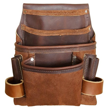 Heavy Duty Tool Pouch - All Leather - Reinforced Seams - Professional Grade (4 Pocket Framing Pouch)