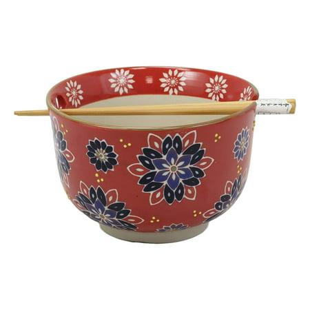 Ebros Red Colorful Divine Flowers Ramen Udon Noodles Large 6.25
