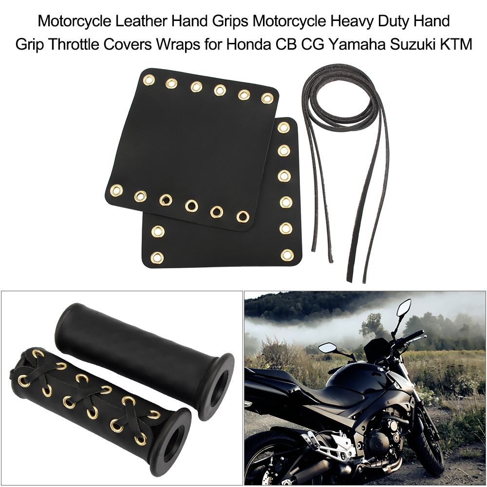 Motorcycle Leather Grip Cover Wraps Set Chose to Color