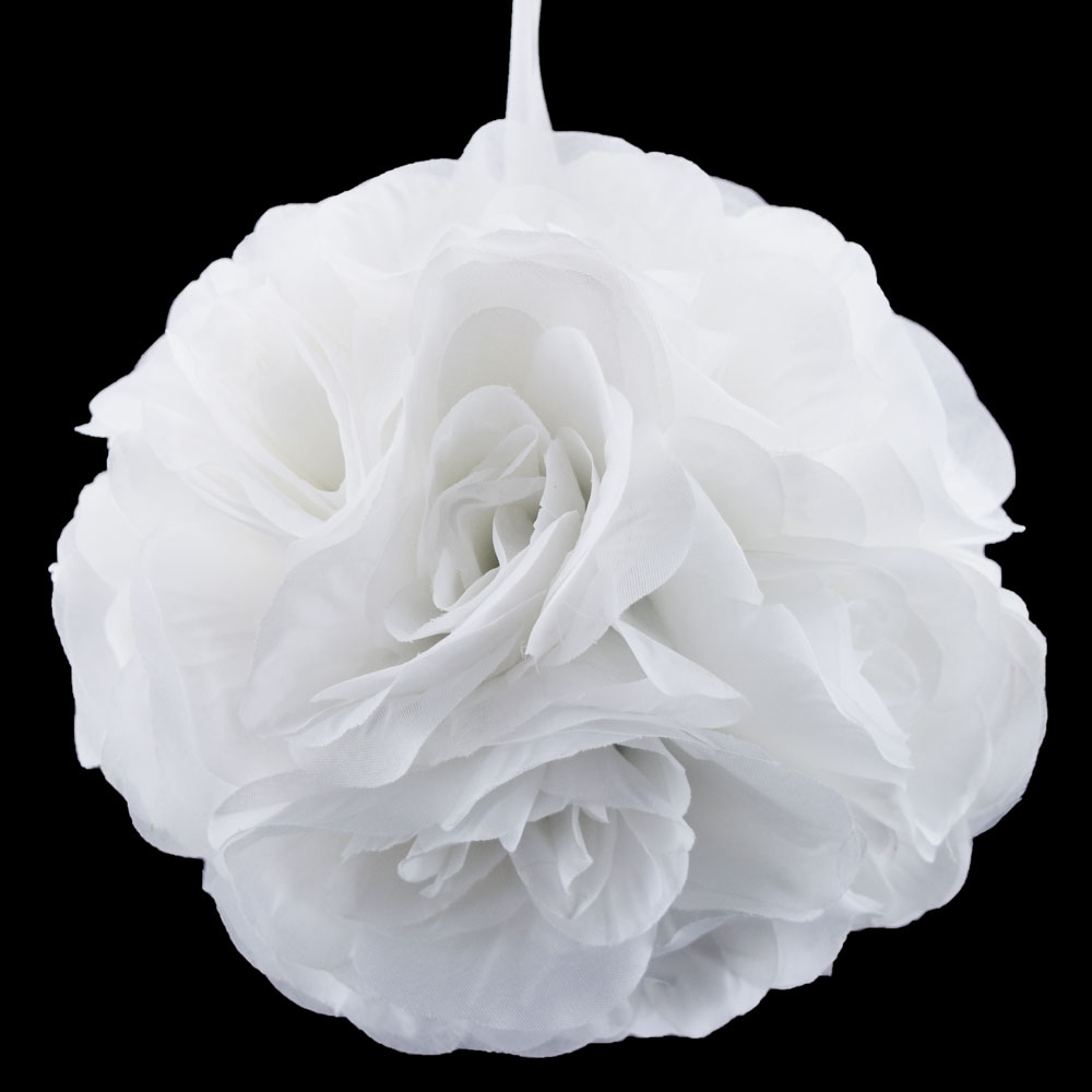 "Quasimoon 8"" White Rose Flower Pomander Small Wedding Kissing Ball for Weddings and Decoration by PaperLanternStore"