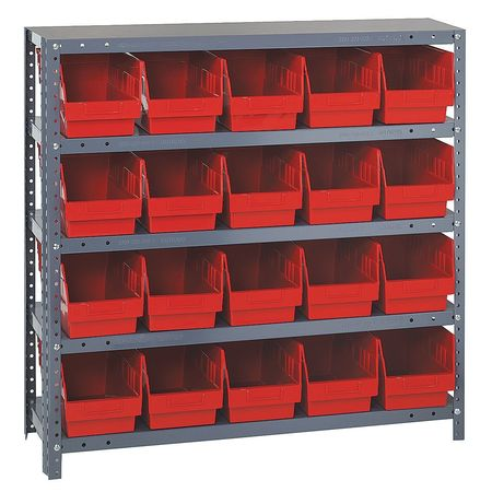 Bin Shelving,Solid,36X18,20 Bins,Red QUANTUM STORAGE SYSTEMS 1839-204RD