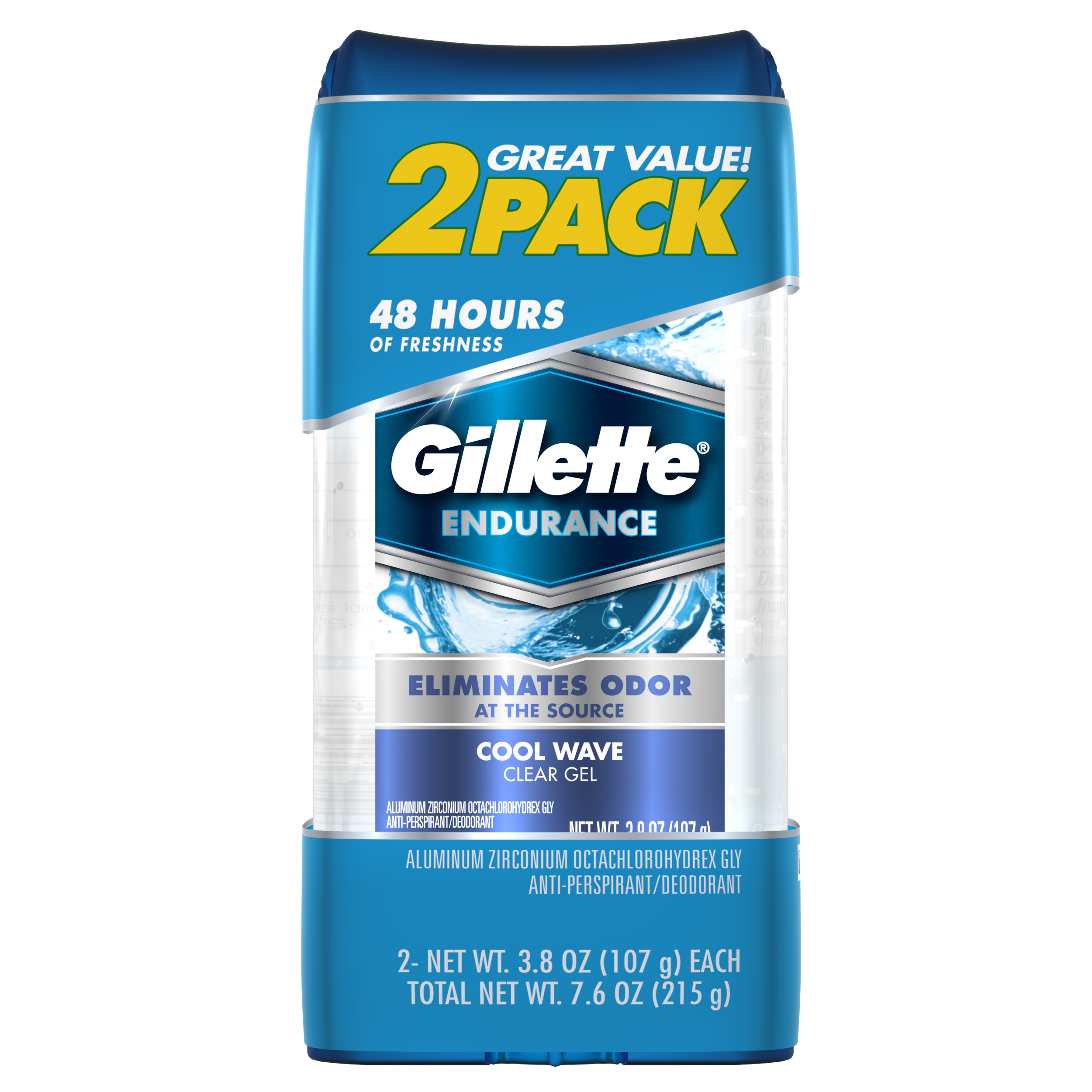 Gillette Cool Wave Clear Gel Mens Antiperspirant and Deodorant 3.8 oz each 2-Pack