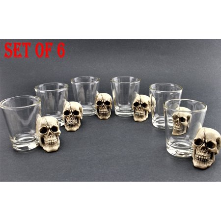 Crystal Head Vodka ([ Set of 6] Unique Skull Shot Glass Skull Head Cup Spooky Pirate Shot for Wine Vodka Whiskey Cocktail, Party Bar)