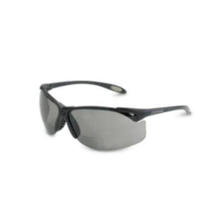 Uvex A961 Safety Glasses, Bi-focal Readers, +2.00, Sporty Black Frame, Wraparound Tsr Gray Hardcoat Lens