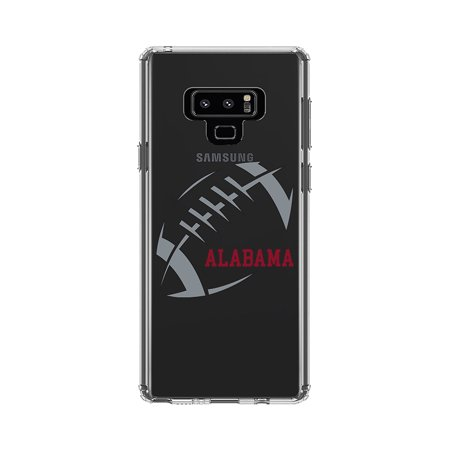 DistinctInk Clear Shockproof Hybrid Case for Samsung Galaxy Note 9 - TPU Bumper, Acrylic Back, Tempered Glass Screen Protector - Alabama Football - Crimson, Gray 6pc Tempered Glass