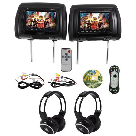 "Rockville RDP711-BK 7"" Car Headrest Monitors w/DVD/USB/HDMI + Games +"