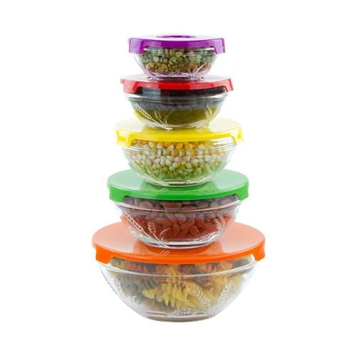 10 Piece Glass Lunch Bowls Food Storage Container Set With Lids and Wheat Design