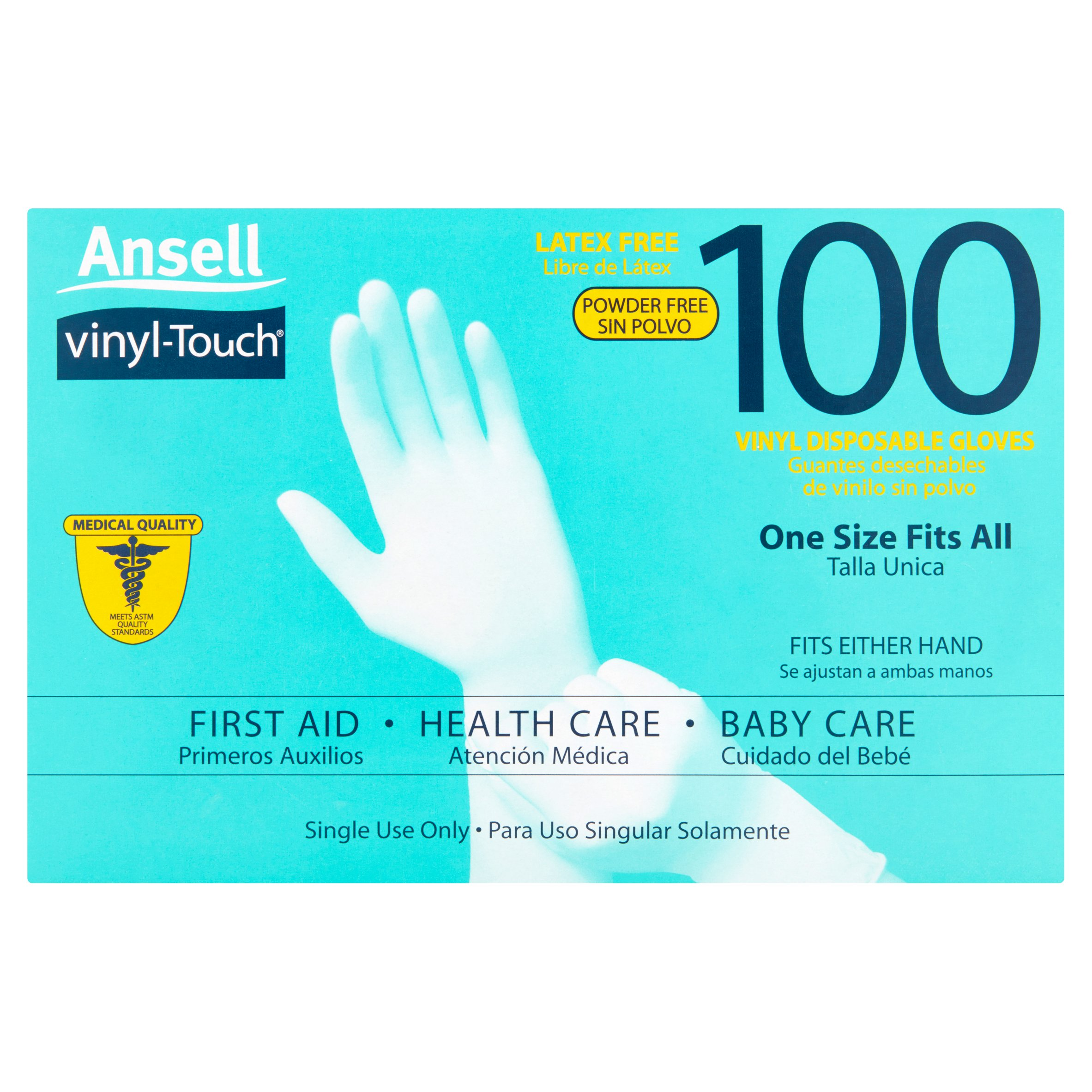Ansell Vinyl Touch Gloves – Multi-Purpose, Disposable, Latex-Free, One Size Fits All! 100ct Gloves