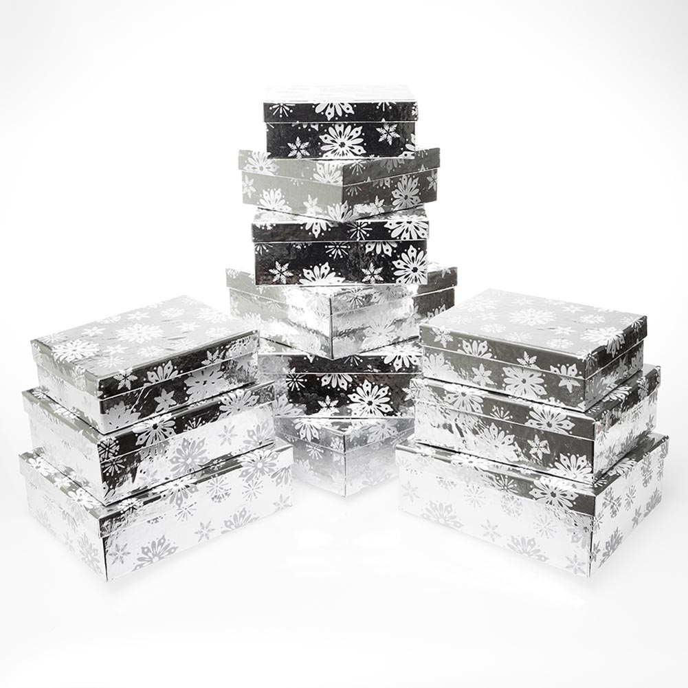 3 Piece Snowflake Gift Boxes (4 Pack) by It's In The Bag