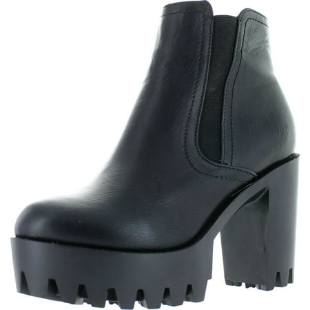 Black Platform Boots Cheap (Refresh FABIA-01 Women's Elastic Side Zip Lug Sole Platform Chunky Ankle)