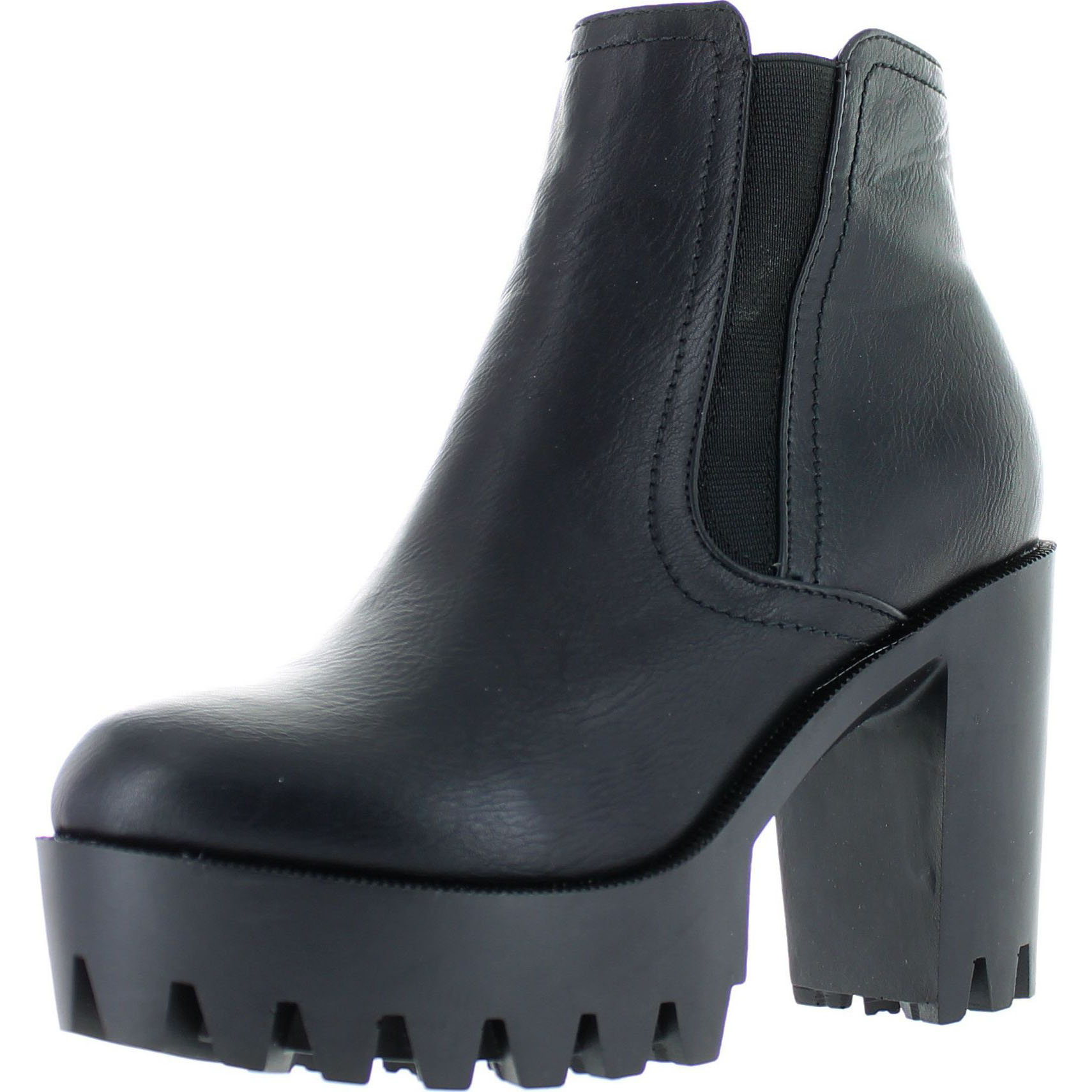 Refresh FABIA-01 Women's Elastic Side Zip Lug Sole Platform Chunky Ankle Boots