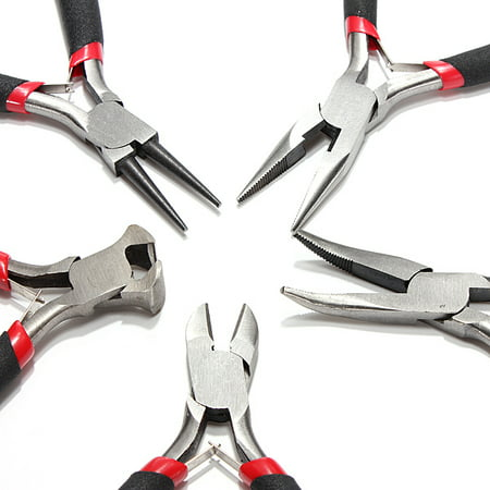 5Pcs Mini Pliers Jewelry Pliers Jewelry tools Cutter Round Bent Nose Beading Making Design Tool Kit - image 4 de 9