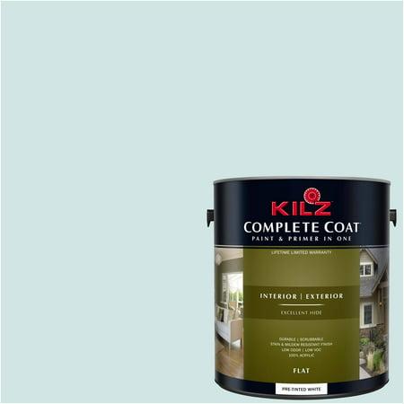 Sea Glass, KILZ COMPLETE COAT Interior/Exterior Paint & Primer in One, #RG180-01 (Flat Sea Glass)