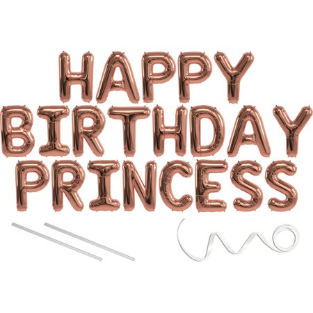 Princess Helium Balloons (Princess, Happy Birthday Mylar Balloon Banner - Rose Gold - 16 inch Letters. Includes 2 Straws for Inflating, String for Hanging. Air Fill Only- Does Not Float w/Helium. Great Birthday)